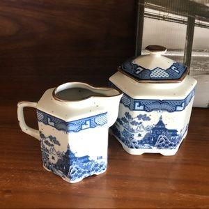 Vintage Japanese Blue White Sugar and Creamer Set